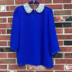 Royal blue button down with pearl detailing